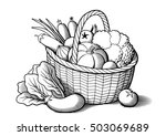 Vegetables In Wicker Basket....