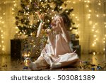 excited little girl laughing ... | Shutterstock . vector #503081389