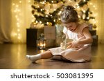 excited curious little girl... | Shutterstock . vector #503081395