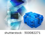 3d illustration of  cubes with... | Shutterstock . vector #503082271