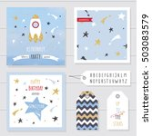 cute cards and badges with gold ... | Shutterstock .eps vector #503083579