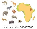 africa map with animals aside... | Shutterstock . vector #503087905