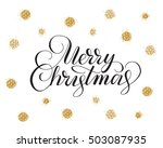 merry christmas card with hand... | Shutterstock .eps vector #503087935