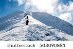 tourists enjoying high... | Shutterstock . vector #503090881