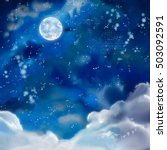 watercolor nightly dramatic... | Shutterstock . vector #503092591