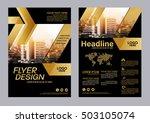 gold brochure layout design... | Shutterstock .eps vector #503105074