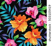 seamless exotic pattern with... | Shutterstock .eps vector #503105419