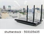 black three poles wifi router... | Shutterstock . vector #503105635