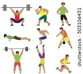 men doing sport exercises. set...   Shutterstock .eps vector #503106451