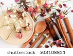 essential oil of rose  cinnamon ... | Shutterstock . vector #503108821