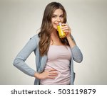 Casual Dressed Woman Drink...