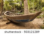 Old Vietnamese Wood Boat In Th...