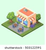 isometric cute restaurant cafe... | Shutterstock .eps vector #503122591