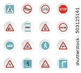 road signs icons set. flat... | Shutterstock .eps vector #503125141