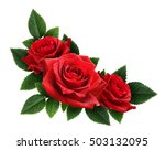 Red rose flowers corner arrangement isolated on white