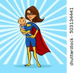 super mom hold baby characters. ... | Shutterstock .eps vector #503134441