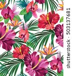 detailed tropical pattern with... | Shutterstock .eps vector #503137681
