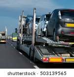 the trailer transports cars on... | Shutterstock . vector #503139565