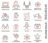 vector set of 16 thin icons... | Shutterstock .eps vector #503140144