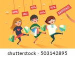 crowd of girls going to the... | Shutterstock .eps vector #503142895