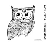 owl isolated. cute boho pattern ... | Shutterstock .eps vector #503144695