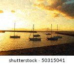 Oil Painting Of Sunset In A...