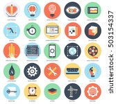 flat conceptual icon set of...