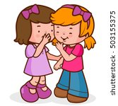 two little girls share secrets  ... | Shutterstock .eps vector #503155375