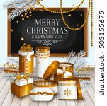 merry christmas card. pile of... | Shutterstock .eps vector #503155675