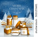 merry christmas card with pile... | Shutterstock .eps vector #503155681