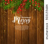 christmas card with garland...   Shutterstock .eps vector #503155684