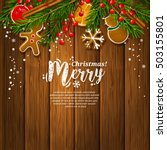 christmas card with garland... | Shutterstock .eps vector #503155801