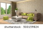 interior with sofa. 3d... | Shutterstock . vector #503159824