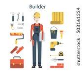 isolated female builder on... | Shutterstock .eps vector #503161234