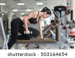 smiling girl working out on a... | Shutterstock . vector #503164654