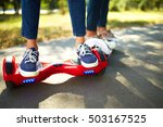 young man and woman riding on... | Shutterstock . vector #503167525