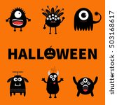 happy halloween card. text with ... | Shutterstock .eps vector #503168617
