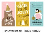 set of christmas cards with... | Shutterstock .eps vector #503178829