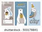 set of christmas cards with... | Shutterstock .eps vector #503178841