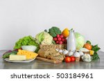 vegetables and dairy products... | Shutterstock . vector #503184961