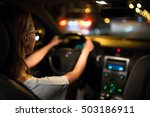 female drive driving a car at... | Shutterstock . vector #503186911