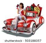 christmas pin up girl with gift ...