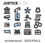 vector flat line justice icons... | Shutterstock .eps vector #503195611