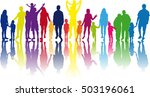 family silhouetes . large... | Shutterstock .eps vector #503196061