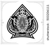 ace of spades form with oval... | Shutterstock .eps vector #503206111