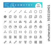set of 56 geometry line icons... | Shutterstock .eps vector #503210401