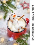 red mug with hot chocolate with ... | Shutterstock . vector #503217895