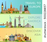 worldwide travel flyers with... | Shutterstock .eps vector #503228857