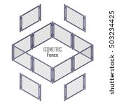 Isometric Fence In Light Color...