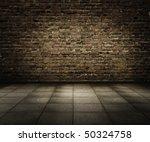 Old Grunge Interior With Brick...